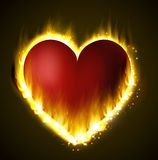 Flame heart on the dark Stock Images