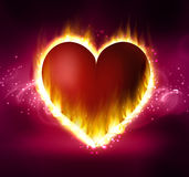 Flame heart on the dark Royalty Free Stock Photography