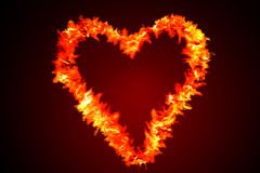 Flame Heart on Red Stock Photography