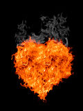 Flame heart with smoke Stock Images