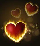 Flame heart son the dark Stock Photo