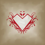 Flame heart on vintage paper Stock Images