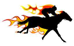 Flame horse. Horse silhouette with flame tongues. Vector illustration Royalty Free Stock Photos