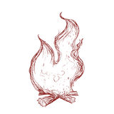 Flame icon. Fire design. Vector graphic. Fire concept represented by sketch flame icon. Isolated and flat illustration Royalty Free Stock Images