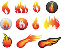 Flame icon set. Illustration of a collection of styles Royalty Free Stock Images