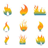 Flame icon set. Various flames in icon set Stock Images
