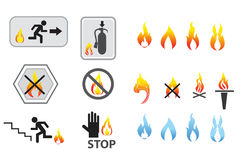 Flame icon set and system security. Isolated on white background Royalty Free Stock Image
