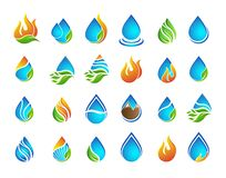 Free Flame Icon Set, Water Drop Logo, Set Of Water Drops Symbol Icon, Nature Icons Set. Stock Photo - 174626730