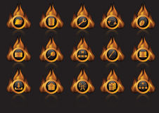 Flame icons. Vector illustration of the flame icons Royalty Free Stock Photo