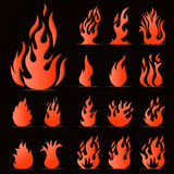 Flame icons set Stock Image
