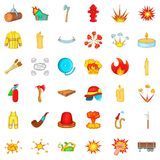 Flame icons set, cartoon style. Flame icons set. Cartoon style of 36 flame vector icons for web isolated on white background Stock Photography