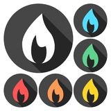 Flame icons set with long shadow. Vector icon Royalty Free Stock Image