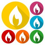 Flame icons set with long shadow. Vector icon Stock Photos