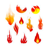 Flame icons. Set of red, orange and yellow fire symbols. Vector logo elements. Flame icons Royalty Free Stock Image
