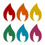 Flame icons set. Vector icon Stock Photography