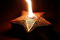 Fire Star at The Hellfire Club in Manchester 2. A flame inside the haunted horror pub in Manchester called The Hellfire Club Stock Image