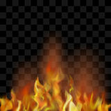 Hot Red Burning Fire Flame with Flying Embers. Flame Isolated over Checkered Black Background. Hot Red and Yellow Burning Fire with Flying Embers Royalty Free Stock Photos