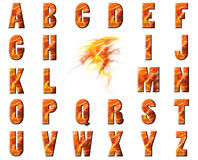 Flame and Lava Alphabet Collage Royalty Free Stock Images
