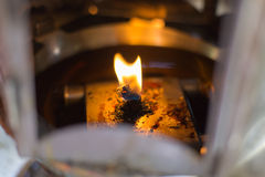 Flame. And light oil in lamp Stock Photo