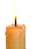 Flame on lighted candle close up Royalty Free Stock Photo