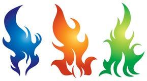 Flame Logo Set. A flame fire logo icon set Royalty Free Stock Photo