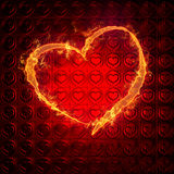 Flame of love. Heart on fire - illuminating a red background with a heart pattern Stock Photos