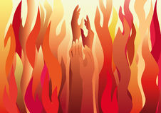 Flame of Love. Masculine and feminine hands raised against the flames Stock Photography