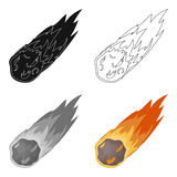 Flame meteorite icon in cartoon style isolated on white background. Dinosaurs and prehistoric symbol stock vector. Flame meteorite icon in cartoon design Royalty Free Stock Photos