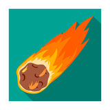 Flame meteorite icon in flat style isolated on white background. Dinosaurs and prehistoric symbol. Flame meteorite icon in flat design isolated on white Royalty Free Stock Photography