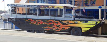 Flame Painted Ride The Ducks Aquatic Vehicle in Branson, Missouri Royalty Free Stock Images