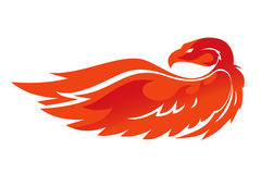 Flame  phoenix vector emblem. Simple image of an fire eagle Stock Image