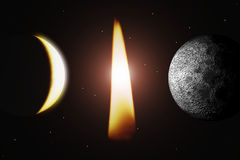 Flame and planet. Scene of the flame and planets Royalty Free Stock Images