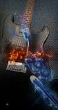 Flame Plasma Electric Guitar. Flaming Plasma Black Electric Guitar Vector Illustration
