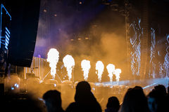 Flame projectors on a live EDM concert Royalty Free Stock Photos