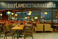 The Flame Restaurant & Bar. WARSAW, POLAND - CIRCA NOVEMBER, 2017: The Flame Restaurant & Bar in Warsaw Chopin Airport royalty free stock photos