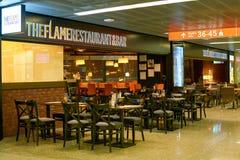 The Flame Restaurant & Bar. WARSAW, POLAND - CIRCA NOVEMBER, 2017: The Flame Restaurant & Bar in Warsaw Chopin Airport stock image