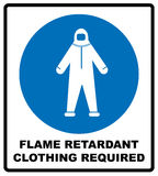 Flame retardant clothing required sign. Vector illustration. Flame retardant clothing required sign. Firefighter costume icon, isolated on white background Royalty Free Stock Images
