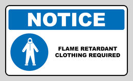 Flame retardant clothing required sign. Vector illustration. Flame retardant clothing required sign. Firefighter costume icon,  on white background. Clothing Royalty Free Stock Images