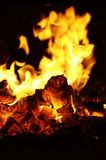Flame in the russian furnace royalty free stock photography