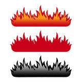 Flame set. Set of three flame isolated on white background. EPS file available vector illustration