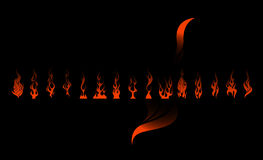Flame Set. Its a set of fldames that can be downloaded as vectors and can be used as textures and background Stock Photo