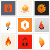 Flame. Set of posters, design elements Royalty Free Stock Images