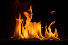 Flame. Shaped flame lit on a black background Royalty Free Stock Photo