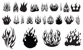 Flame silhouettes. A selection of flame silhouettes on a white background Stock Photo