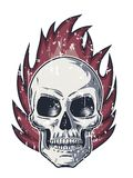 Flame and Skull with Evil Look. And grunge texture on white background Royalty Free Stock Photo