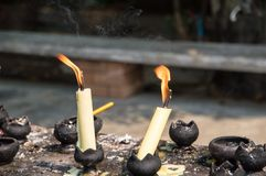 Flame and smoke from candles royalty free stock images
