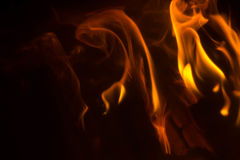 Flame with sparks. Fire flames on a black background Stock Photos