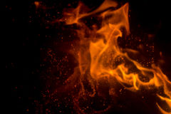 Flame with sparks Royalty Free Stock Images