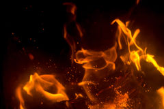 Flame with sparks. Fire flames on a black background Stock Image