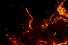 Flame with sparks. Fire flames on a black background Stock Photo